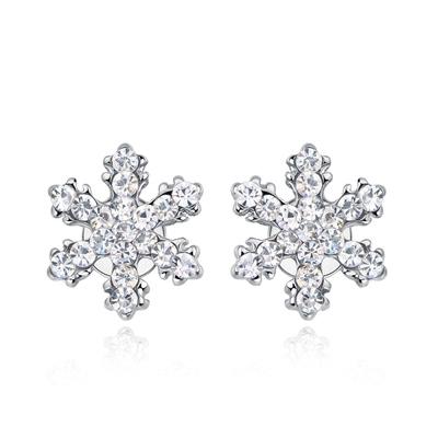 可愛亮麗滿鑽雪花黏式耳環
