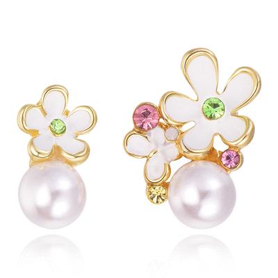 氣質珍珠花朵不對稱 無耳洞黏貼式耳環