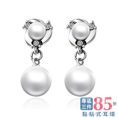 【專區3件85折】典雅雙生珍珠 耳針/無耳洞黏貼式耳環