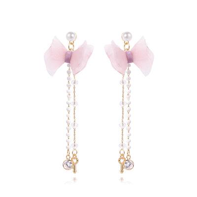 粉嫩珍珠蝴蝶結流蘇 耳針/黏式耳環