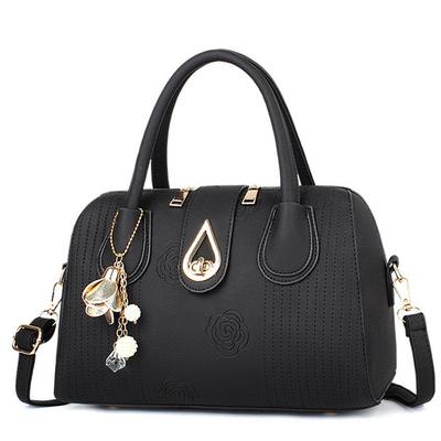 時尚簡約印花水滴轉鎖手提包