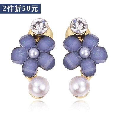 【2件折50元】氣質鑲鑽珍珠花朵 無耳洞黏貼式耳環