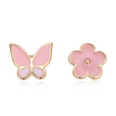 【耳環限時188元】花與蝴蝶不對稱黏式耳環