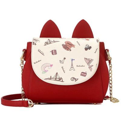 可愛萌趣立體貓耳印花側背包