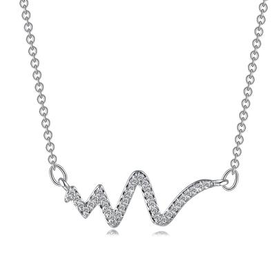 時尚率性閃電造型S925純銀鑲鑽項鍊