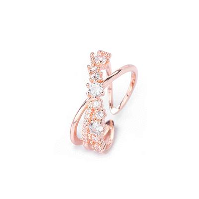 韓版氣質交叉鑲鑽指環