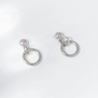 個性極簡小圓環 耳針/無耳洞黏貼式耳環