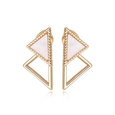 簡約個性幾何三角形 黏式耳環