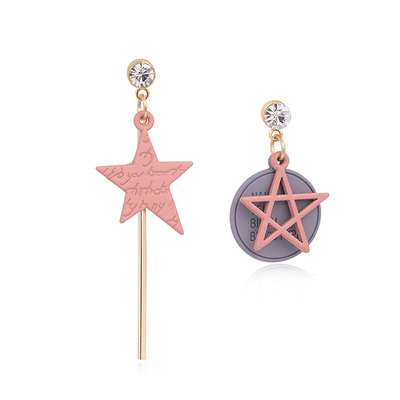日系少女粉色五角星不對稱 耳針/黏式耳環
