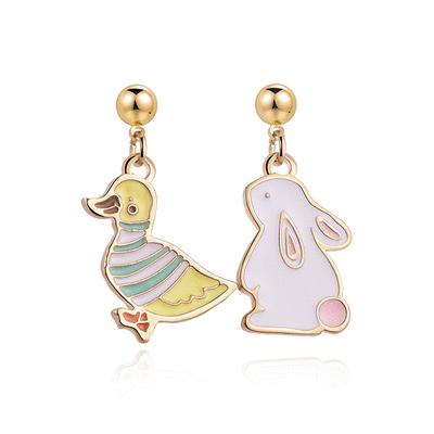 【可愛小孩x耳環2件75折】萌趣小鴨與兔子 黏式耳環