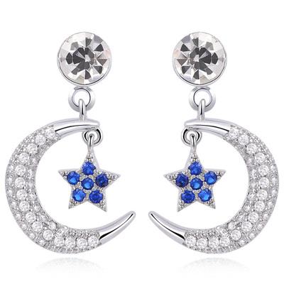 耀眼月亮藍星鑲鑽 耳針/無耳洞黏貼式耳環