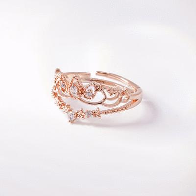浪漫皇冠鑲鑽開口戒指