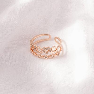 雙層愛心鑲鑽開口戒指