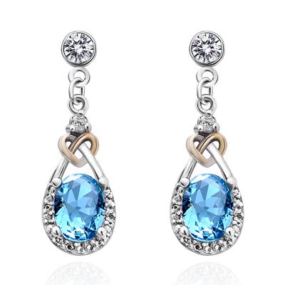 蔚藍之心水滴亮鑽 耳針/無耳洞黏貼式耳環