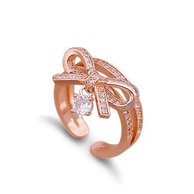 清新甜美蝴蝶結鑲鑽指環