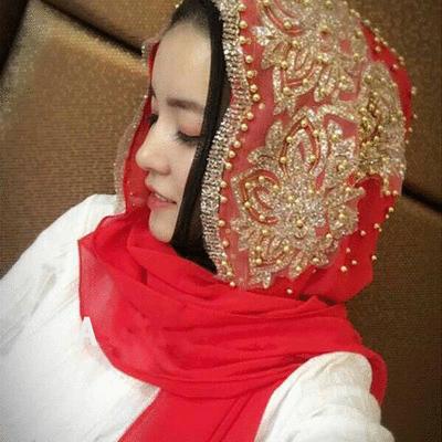 穆斯林雪紡個性釘珠款長頭巾