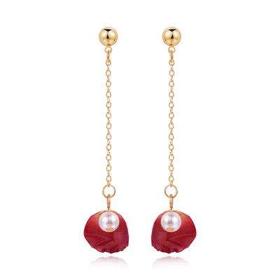 珍珠乾燥玫瑰花瓣 耳針/黏式耳環
