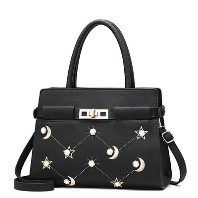 星月刺繡立體合金花朵手提包