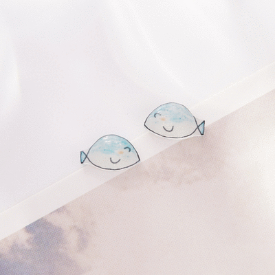 藍色小魚熱縮片 無耳洞黏貼式耳環