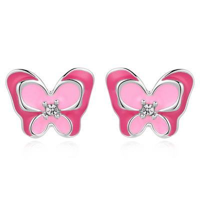 桃粉鑲鑽雙層蝴蝶 無耳洞黏貼式耳環