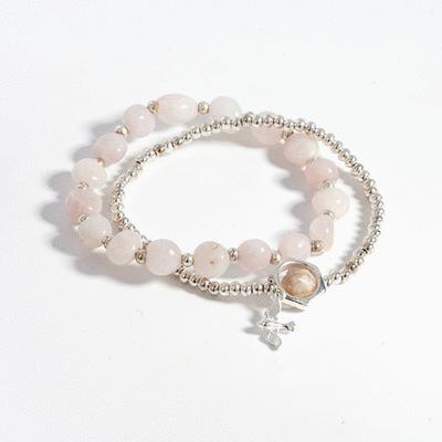 粉嫩水晶雙層串珠手鍊