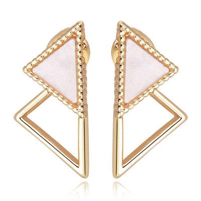 簡約個性幾何三角形 無耳洞黏貼式耳環