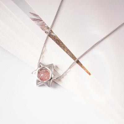 幸運粉色晶石六芒星合金項鍊