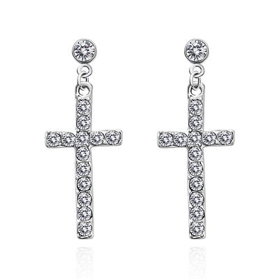 【專區3件85折】神聖祝福十字鑲鑽 無耳洞黏貼式耳環