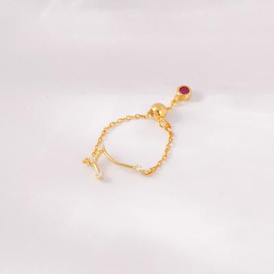 時尚個性十二星座鑲鑽戒指鍊 [純銀]