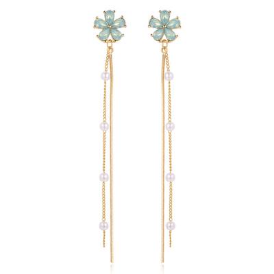 【秋冬新品89折】晶鑽花朵珍珠流蘇 無耳洞黏貼式耳環