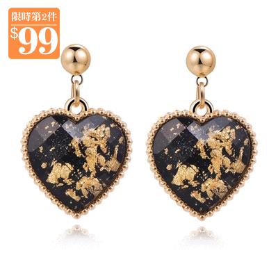 【第2件99元】奢華愛心鑲金 無耳洞黏貼式耳環