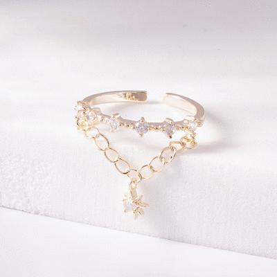 時尚鍊條芒星鑲鑽開口戒指
