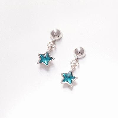 清新蔚藍五角星 耳針/無耳洞黏貼式耳環