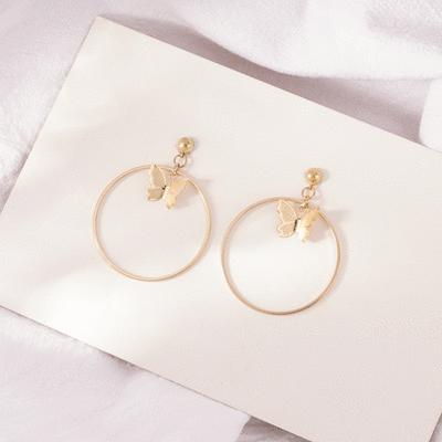 歐美時尚幾何蝴蝶圓圈 無耳洞黏貼式耳環