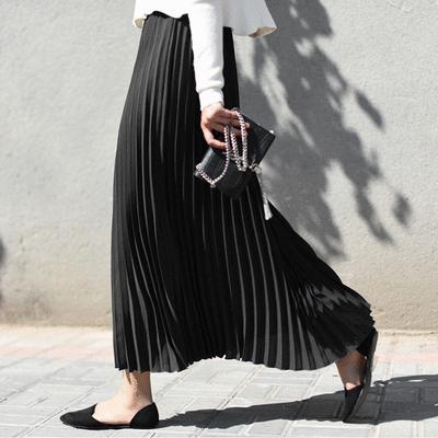 韓版純色高腰彈力百褶裙