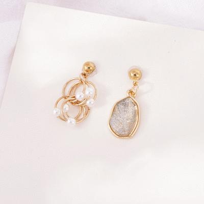 幾何圓環珍珠寶石耳針/無耳洞黏貼式耳環