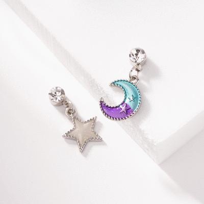 日系魔幻童趣星星月亮 耳針/無耳洞黏貼式耳環