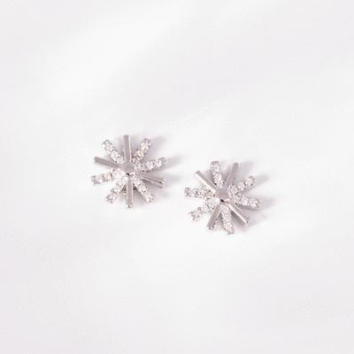 韓版簡約太陽鑲鑽 無耳洞黏貼式耳環
