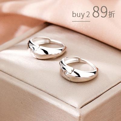 質感韓系粗環造型圓圈 耳針耳環[純銀]
