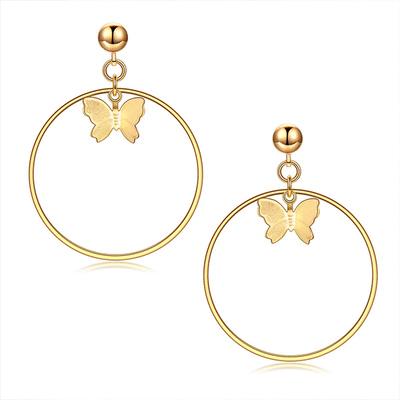 歐美時尚幾何蝴蝶圓圈黏式耳環