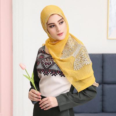穆斯林雙層蝴蝶刺繡款長頭巾