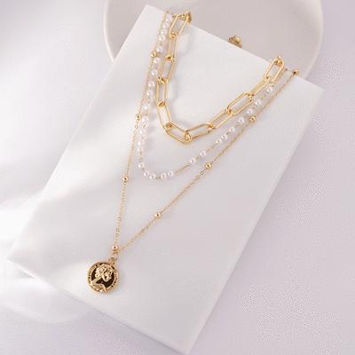 珍珠頭像鐵片鎖鏈多層次項鍊