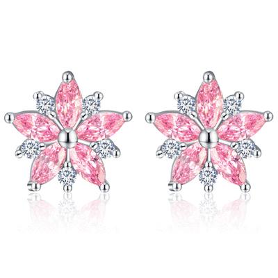 甜美粉嫩櫻花鑲鑽 無耳洞黏貼式耳環
