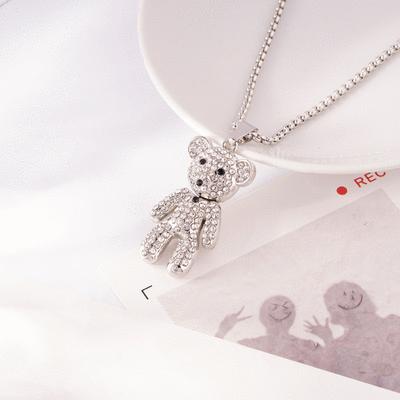 銀光滿鑽可愛小熊毛衣項鍊