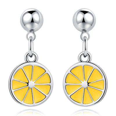 甜美小清新黃色檸檬 無耳洞黏貼式耳環