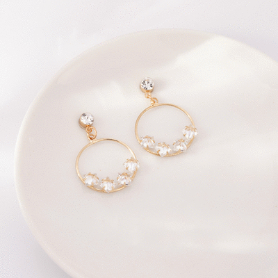 晶亮透鑽簍空圓環 耳針/無耳洞黏貼式耳環