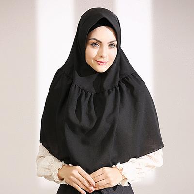 穆斯林簡約純色四面彈方便套頭頭巾