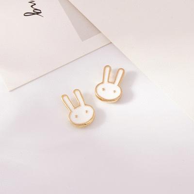 童趣卡通兔兔 無耳洞黏貼式耳環