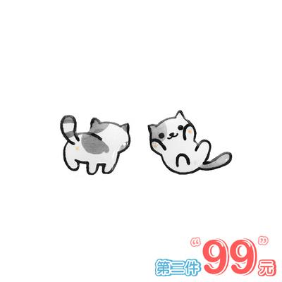 【 第2件99元】可愛萌寵小貓不對稱 無耳洞黏貼式耳環