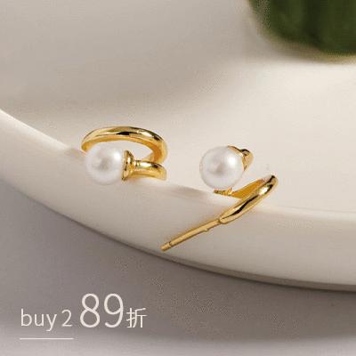 法式浪漫雙線條珍珠鏤空 耳針耳環[純銀]
